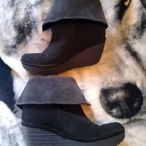 Fly London Yex Foldover Booties Suede Leather